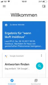 Google Home App Startbildschirm