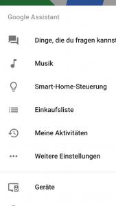 Google Home App Menü