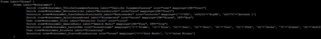Alexa über OpenHab - Sitemap