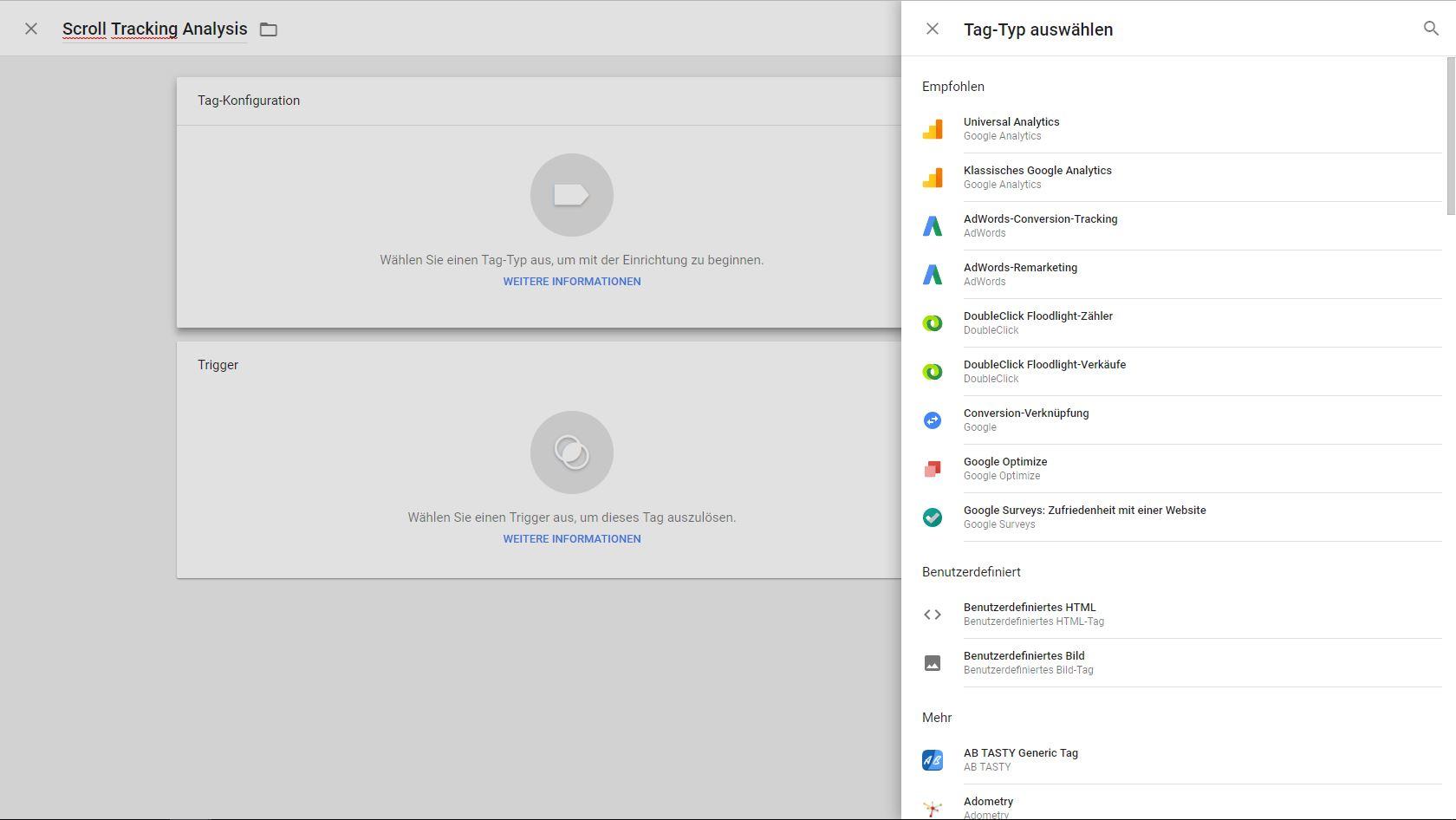 Google Tag Konfiguration