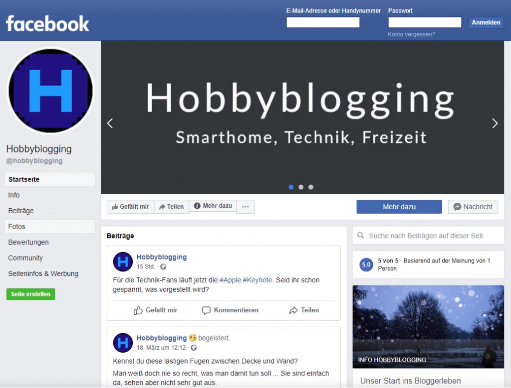 Hobbyblogging auf Facebook - Werde jetzt Fan und markiere diese Seite mit Gefällt mir