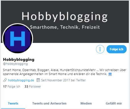Hobbyblogging auf Twitter - Folge unserer Seite